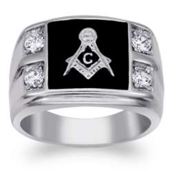 Men's Stainless Steel and Cubic Zirconia Masonic Ring