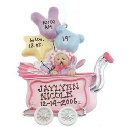 Balloons and Carriage Girl Teddy Bear Ornament