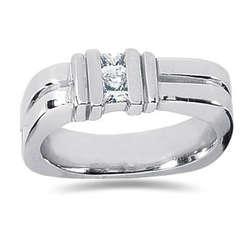 0.34 ctw Men's Diamond Ring in 18K White Gold