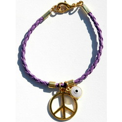 Purple Braided Leather Peace Sign Bracelet