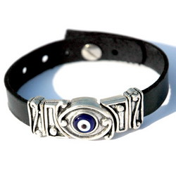 Evil Eye Charm Leather Bracelet