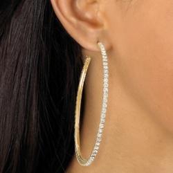 Goldtone Crystal Hoop Pierced Earrings