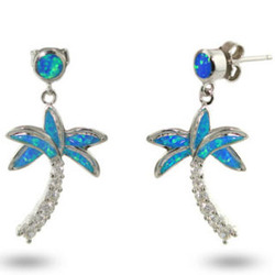 Tiffany Inspired Genuine Opal and CZ Palm Tree Earrings