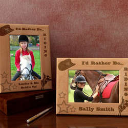 Personalized I'd Rather Be Riding Wooden Picture Frame