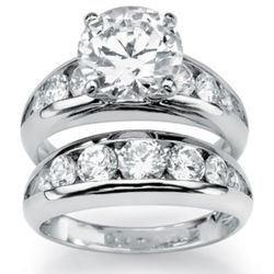 Sterling Silver DiamonUltra Cubic Zirconia Wedding Ring Set