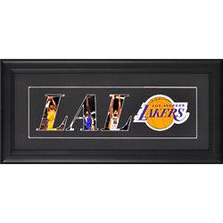 Los Angeles Lakers Logo Framed Black Matte Art Collage Print