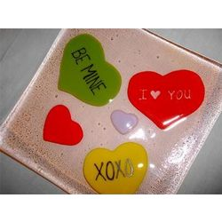 Valentine Hearts Fused Glass Plate