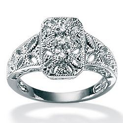 Platinum Over Sterling Silver Diamond Accent Filigree Ring