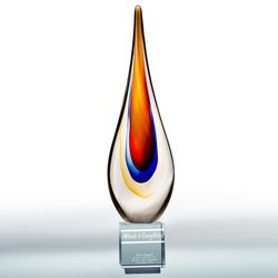 Engraved Blown Glass Flame Award