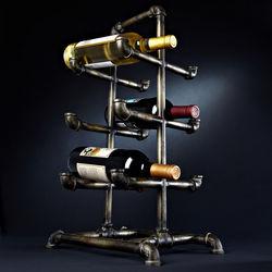 Industrial Age Metal Pipe Wine Rack