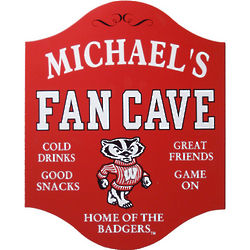 Wisconsin Badgers Personalized Fan Cave Sign