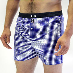 Upper East Blue Check Tailored Boxer with Dark Blue Waistband
