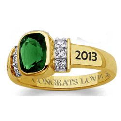Gold-Plated Birthstone Class Ring with Cubic Zirconia Accents