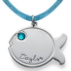Personalized Fish Necklace in Sterling Silver