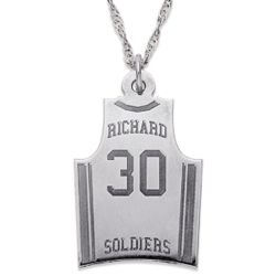 Sterling Silver Personalized Basketball Jersey Necklace