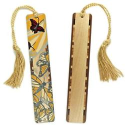 Yellow Monarch Butterfly Wood Bookmark with Tassel
