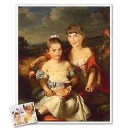 Two Little Girls Classical Portrait from Photos