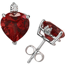 8mm Heart Garnet and Diamond Stud Earrings in 14K White Gold