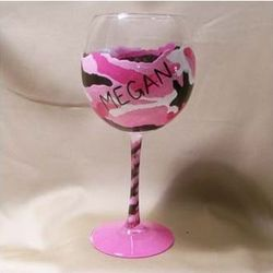 Urban Camouflage Hand Painted Wine Glass