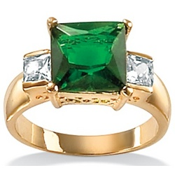 Simulated Emerald and DiamonUltra™ Cubic Zirconia Ring
