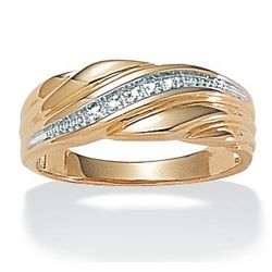 Men's 18K Gold Over Sterling Silver Diamond Accent Wedding Band