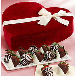 Chocolate Covered Strawberries in Velvet Heart Box