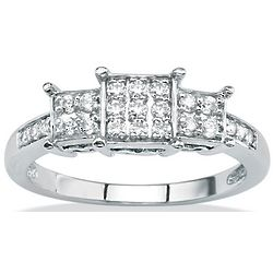 White Gold Round Cut Diamond Accent Women's Ring