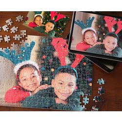 Personalized Holiday Photo Puzzle and Tin