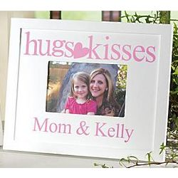 Personalized Pink Hugs and Kisses Frame