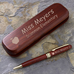 Engraved Rosewood Teacher Pen and Case Set