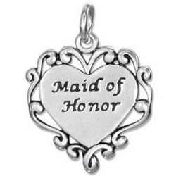 Sterling Silver Maid of Honor Heart Charm with Scroll Edging