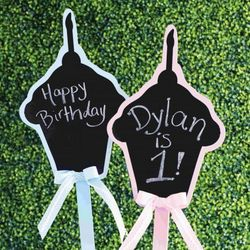 Cupcake Chalkboard Birthday Sign