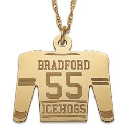 Gold-Plated Personalized Hockey Sweater Necklace