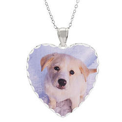 Large Sterling Silver Heart Photo Pendant