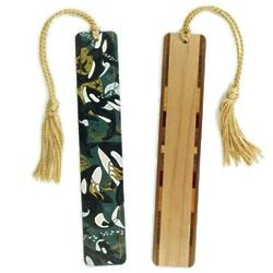Orca Killer Whale Wood Bookmark with Tassel