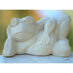 Frog Relaxes Sandstone Sculpture