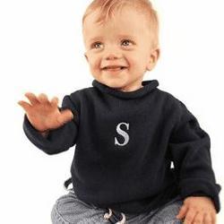 Boys Roll Neck Monogrammed Sweater