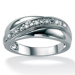 Men's Diamond Platinum Over Sterling Silver Band