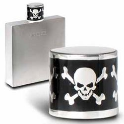 Pewter Flask with Skull and Cross Bones Enamel Cap