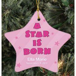 Personalized Ceramic Baby Girl Star Ornament