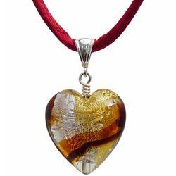 Warm-hued Murano Glass Heart Pendant