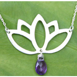 Buddha Lotus Amethyst Flower Necklace