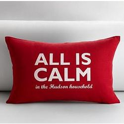 Red All is Calm Personalized Pillow Cover and Insert