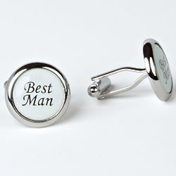 Rhodium Plated Best Man Cuff Links with Engraved Box