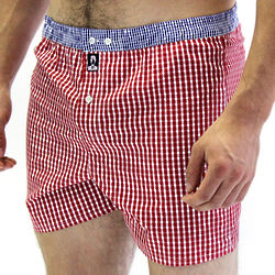 Wall Street Red Check Tailored Boxer with Blue Check Waistband
