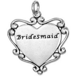 Sterling Silver Bridesmaid Heart Charm with Scroll Edging