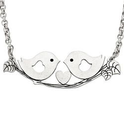 Bird Couple Heart Necklace