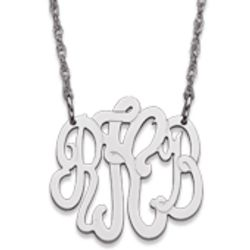 Personalized 10K White Gold 3 Initial Monogram Necklace