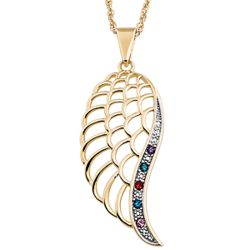 Gold-Plated Family Birthstone Angel Wing Pendant