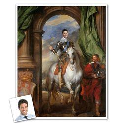 King Charles I on Horseback Custom Portrait Print from Photo